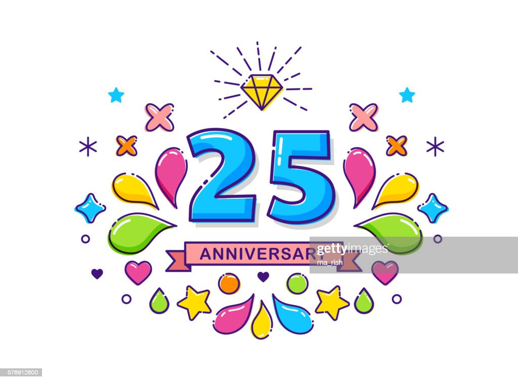 Anniversary outline modern colorful background with stroke icons