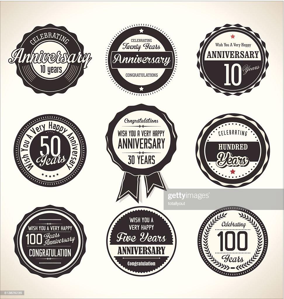 Anniversary retro labels collection