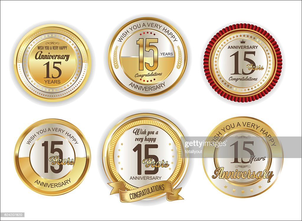 Anniversary retro vintage golden badges collection 15 years