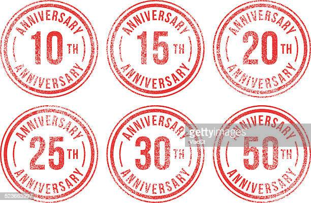 stockillustraties, clipart, cartoons en iconen met anniversary rubber stamps - 25 29 jaar