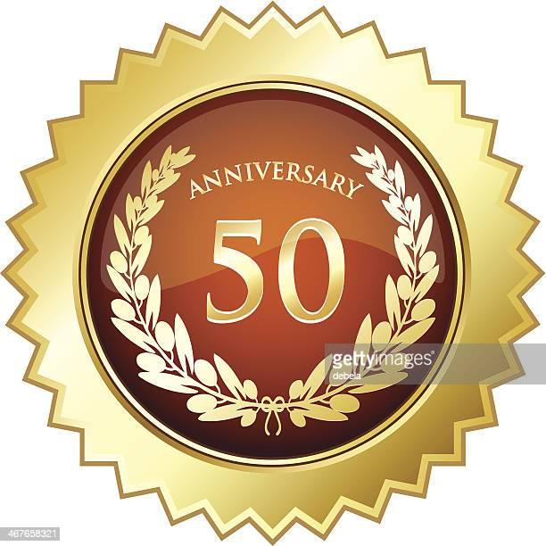 anniversary star shield - fiftieth - 45 49 years stock illustrations, clip art, cartoons, & icons