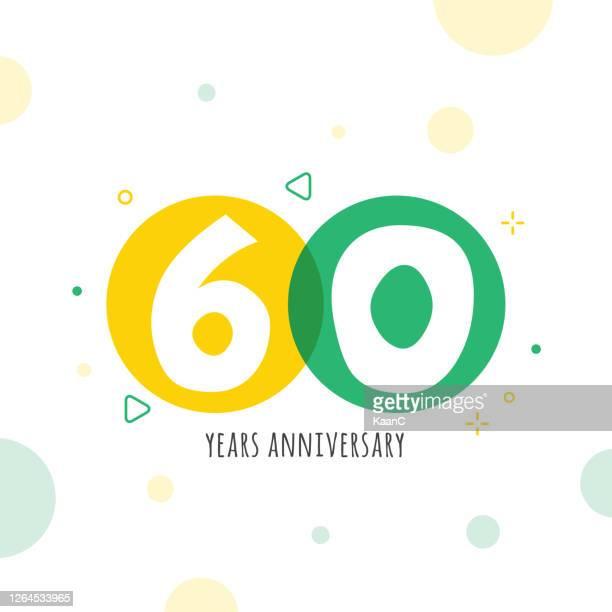 anniversary symbol template isolated, anniversary icon label, anniversary symbol stock illustration - 60th anniversary stock illustrations