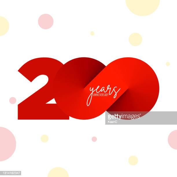 ●記念銘柄テンプレート分離、記念日アイコンラベル、記念銘柄ストックイラスト - 200周年点のイラスト素材/クリップアート素材/マンガ素材/アイコン素材
