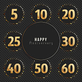 Anniversary symbol's collection. 5th, 10th, 20th, 25th, 30th, 40th, 50th, 60th year celebration gold symboltypes.