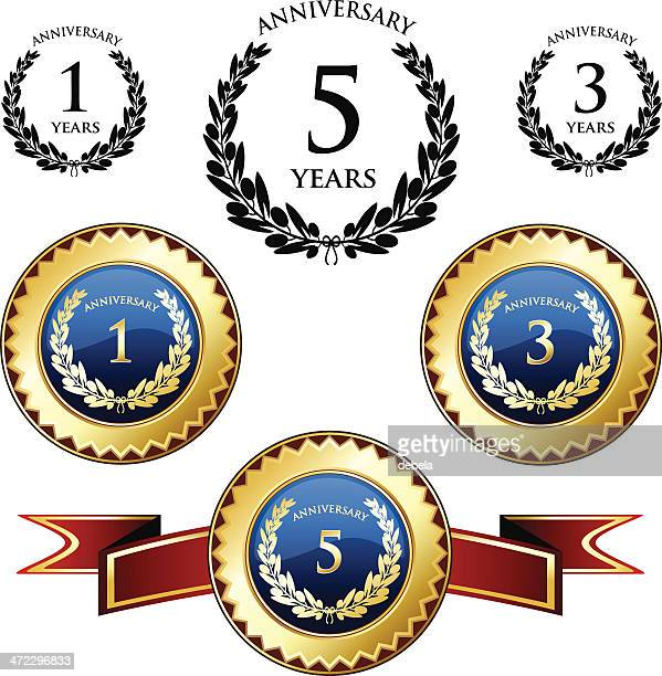 anniversary trophies and seals - medallion stock illustrations, clip art, cartoons, & icons