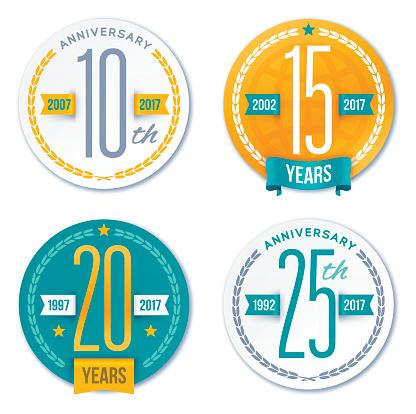 Annivesary Badge Symbols and Decorative Design Elements - gettyimageskorea