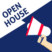 OPEN HOUSE Announcement. Hand Holding Megaphone With Speech Bubble