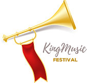 Announcement of a music festival concept. Realistic vector illustration of shiny golden metal trumpet with red ribbon and title on white background.