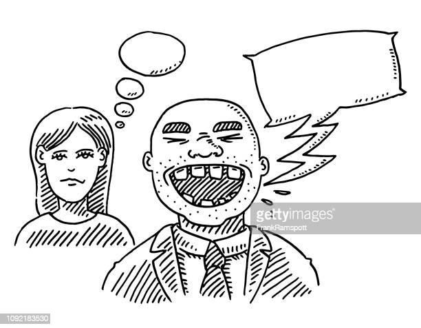 Verärgert Frau unfreundlich Mann Speech Bubble Zeichnung