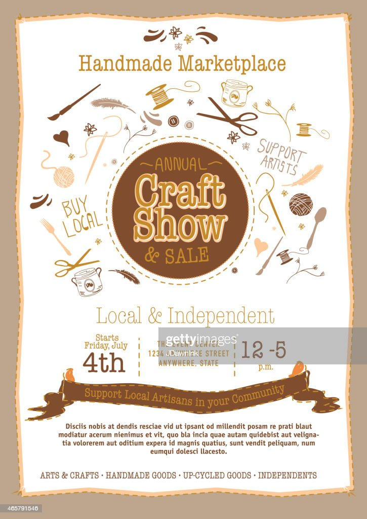 Annual Craft Show And Sale Poster Invitation Brown Neutrals Stock
