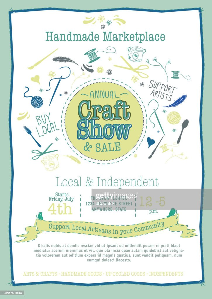 Annual Craft Show And Sale Poster Invitation Green Blue Tones Stock
