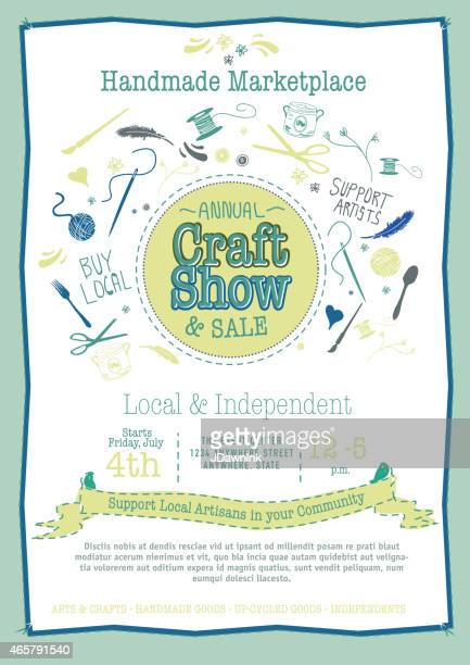 Annual Craft Show and Sale Poster Invitation green blue tones