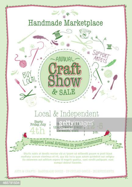 Annual Craft Show and Sale Poster Invitation green, pink colors