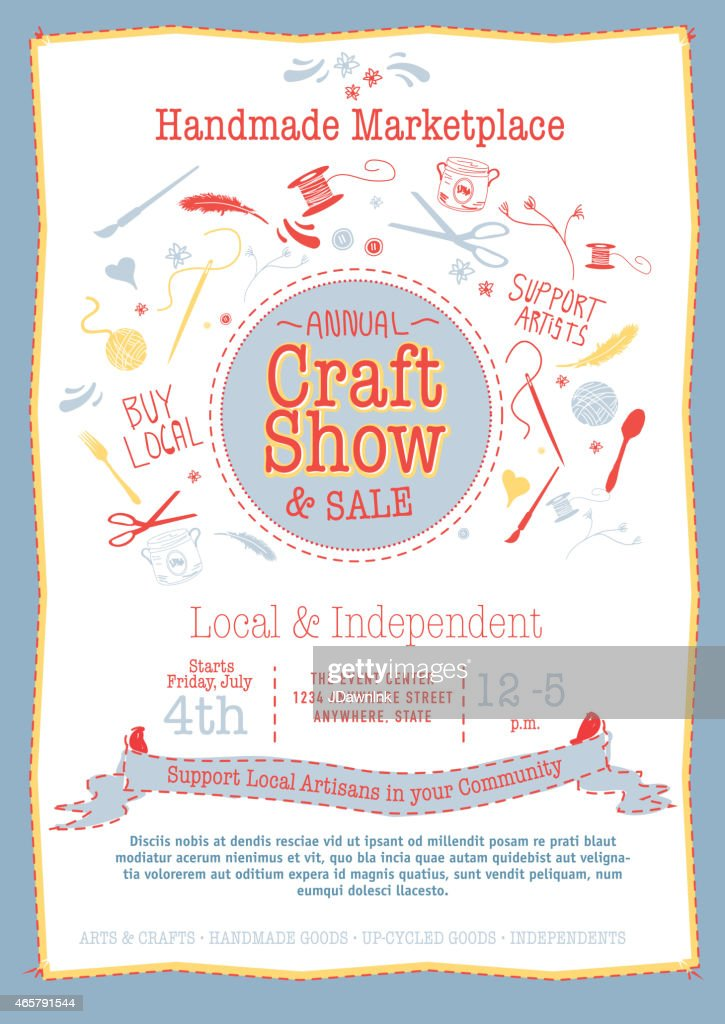 Annual Craft Show And Sale Poster Invitation Red Yellow Blue Stock