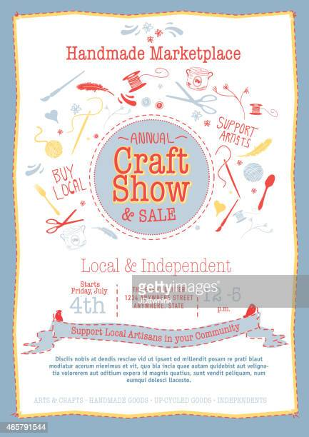 Annual Craft Show and Sale Poster Invitation red, yellow blue