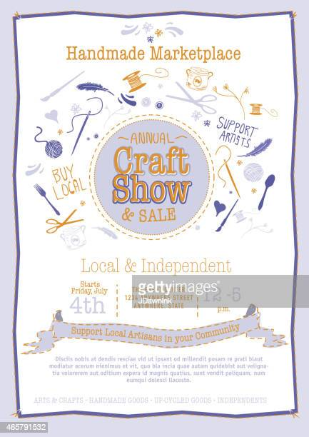 Annual Craft Show Sale Poster Invitation blue and orange colors