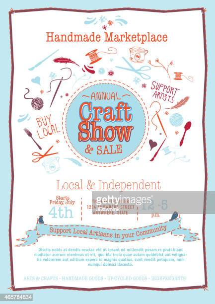 Annual Craft Show Sale Poster Invitation red white and blue