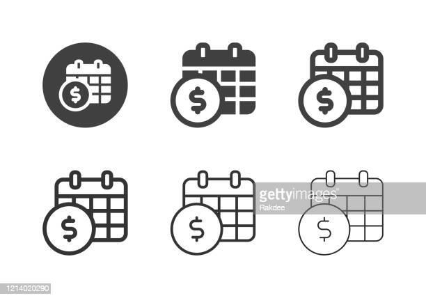 jährliche zahlungssymbole - multi-serie - jährliches ereignis stock-grafiken, -clipart, -cartoons und -symbole