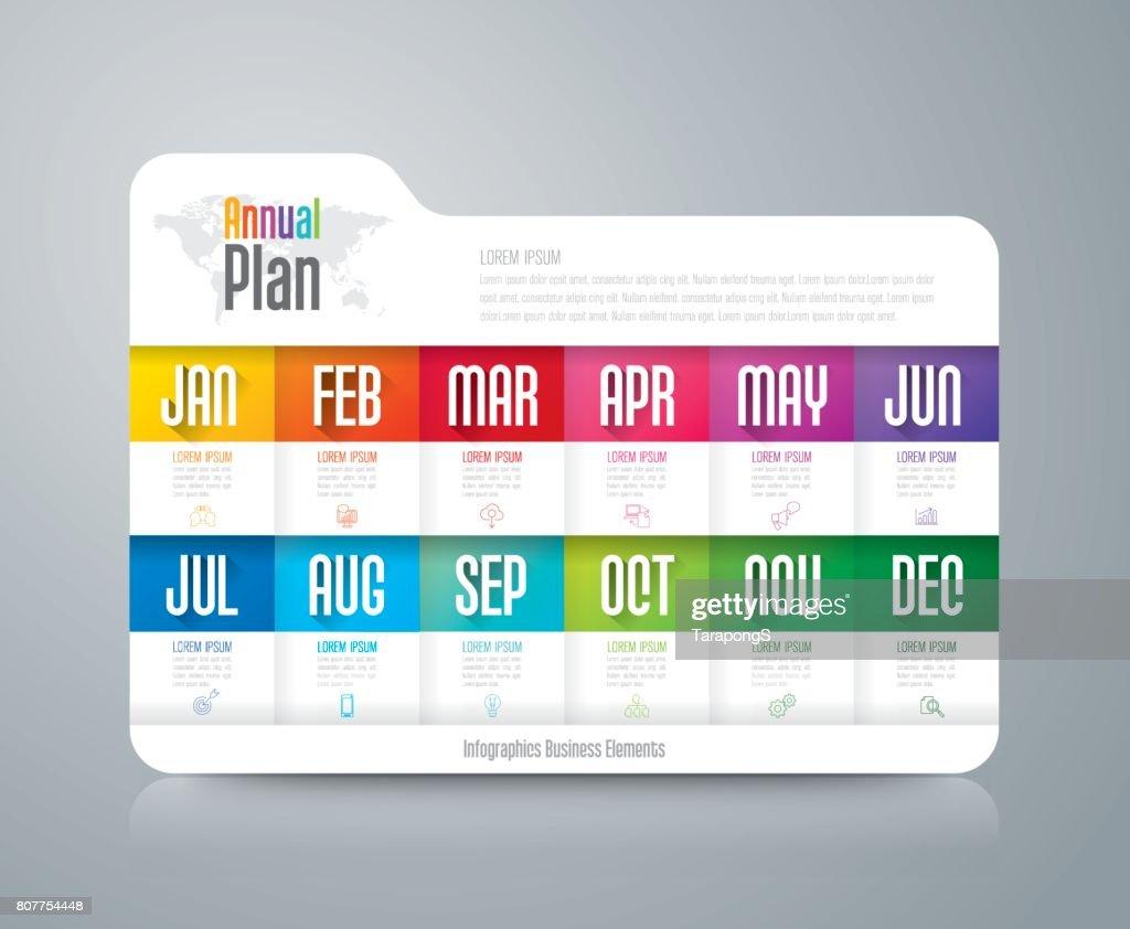Annual plan January - December infographics design.