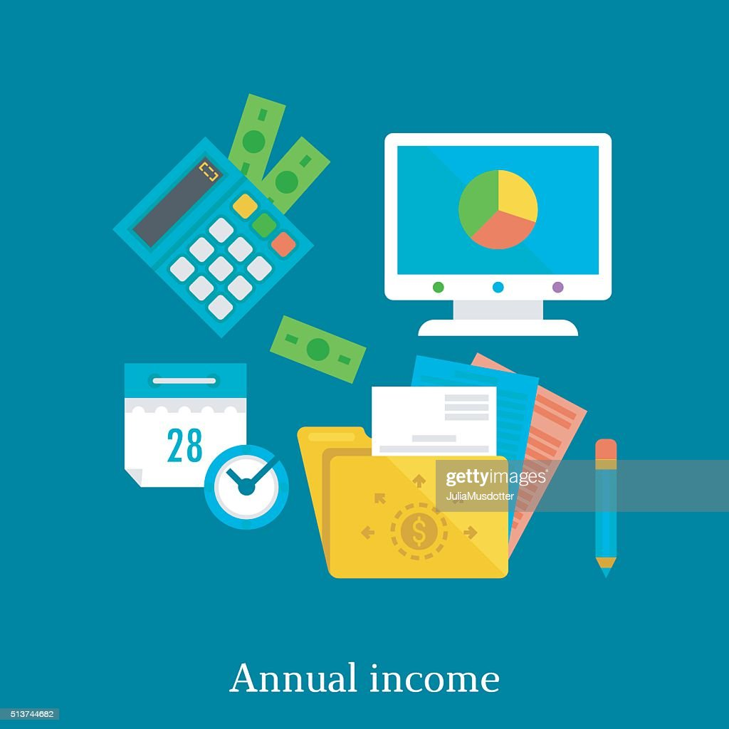Annual report and income flat illustration concept.