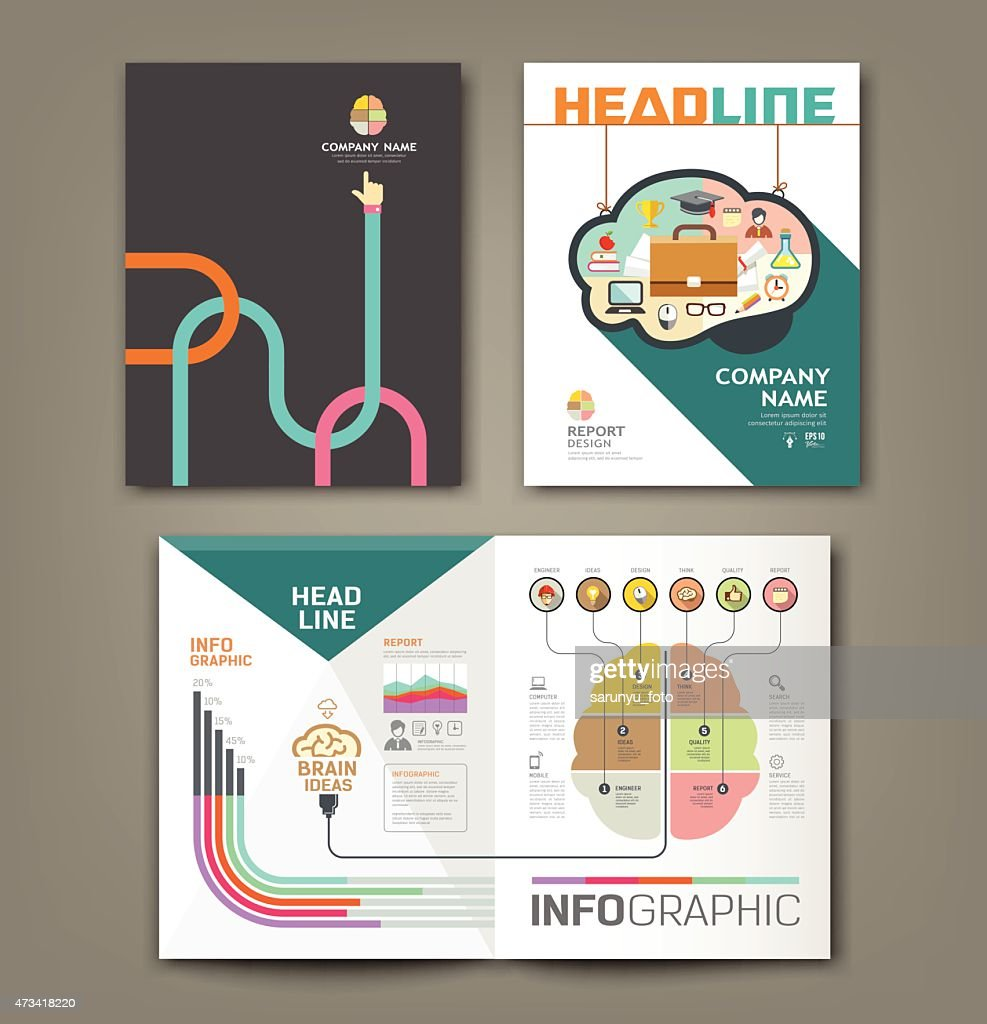 Annual report brain concepts infographic template