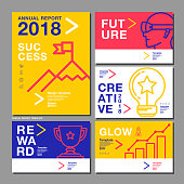 Annual Report Design Template 2018, Business Company, Vector Illustration.