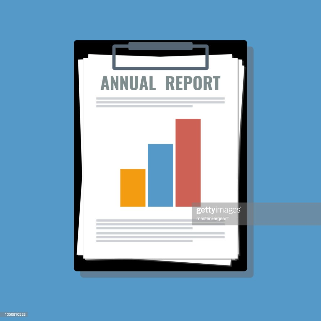 annual report papers sheet in holder, flat vector illustration