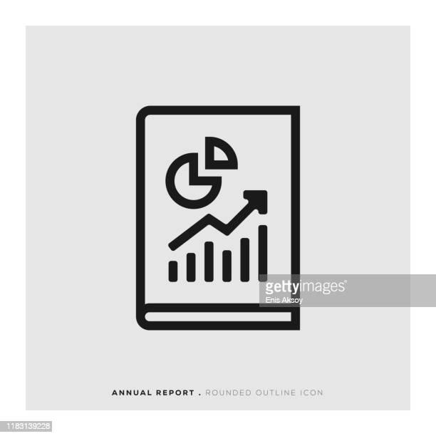 illustrazioni stock, clip art, cartoni animati e icone di tendenza di report annuale rounded line icon investimento - rapporto finanziario