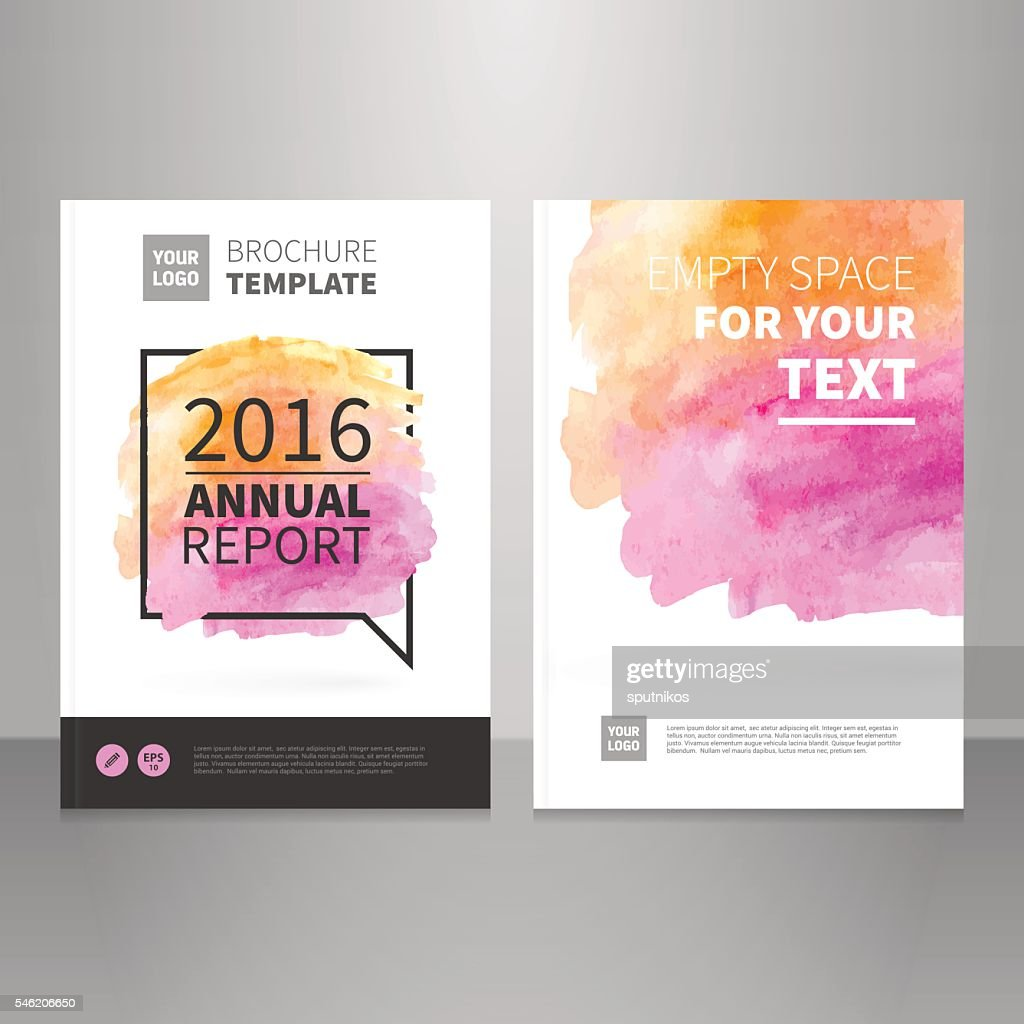 Annual report vector brochure watercolor background template