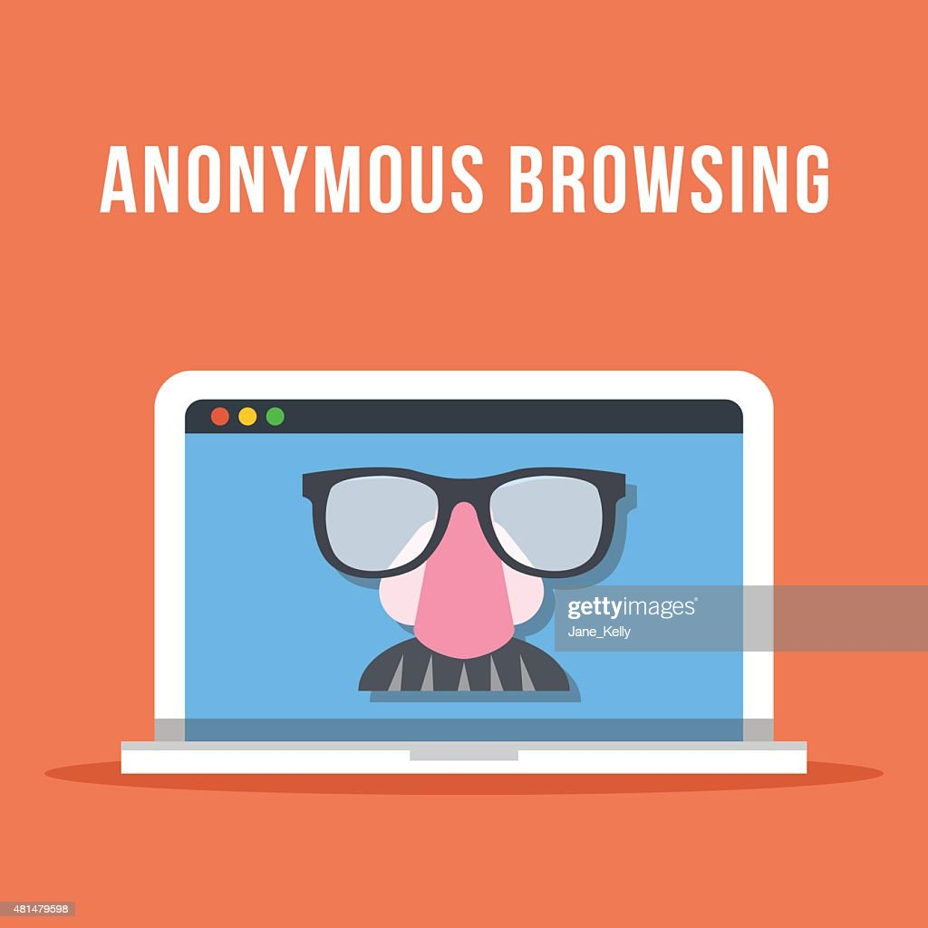 Anonymous browsing flat illustration concept. Laptop with anonymous mask