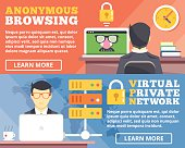 Anonymous browsing, virtual private network, vpn flat illustration concepts set