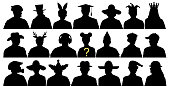 Anonymous face isolated. Avatar fun silhouette. Head with a hat. Crowd of people auditorium. Vector illustration set