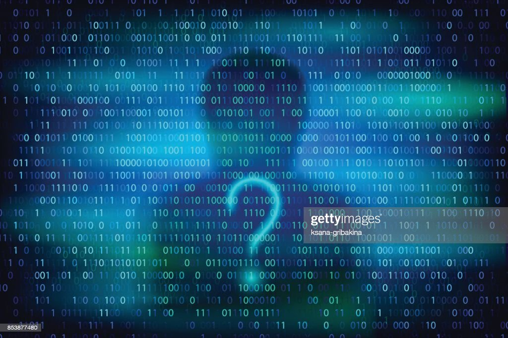 Anonymous silhouette with question symbol on the blue background with binary code texture.