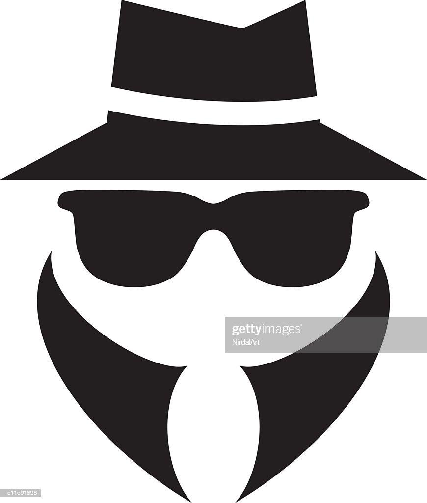 anonymous spy agent vector icon