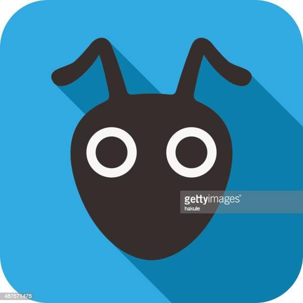 ilustraciones, imágenes clip art, dibujos animados e iconos de stock de hormiga cara diseño plano - hormiga