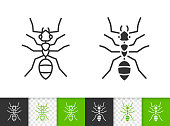Ant simple animal black line insect vector icon