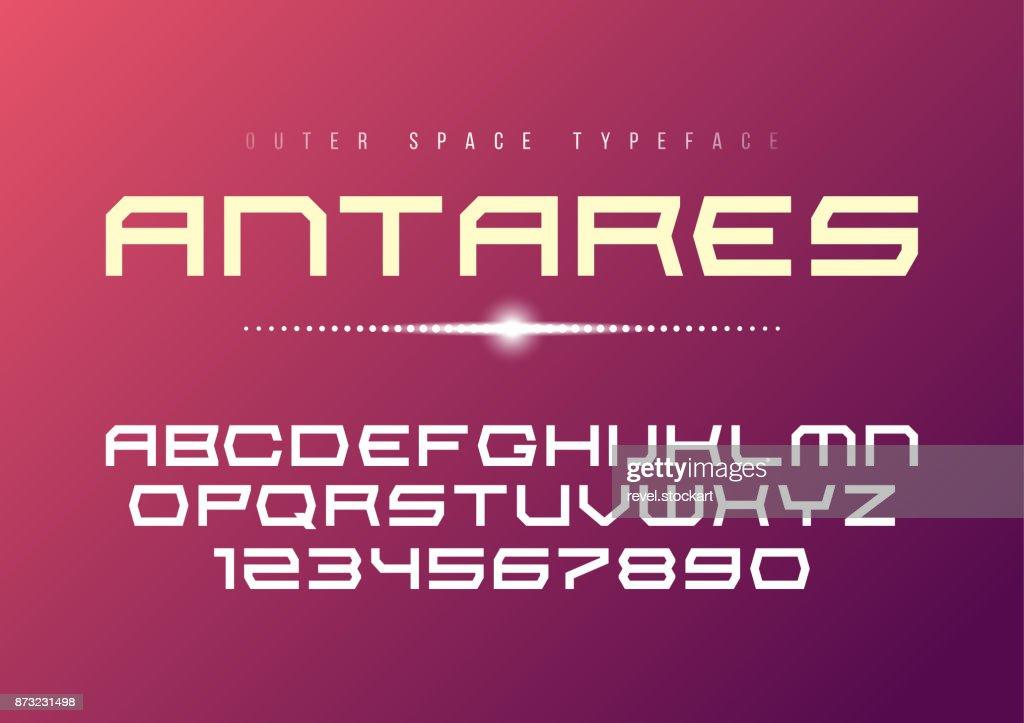 Antares futuristic vector decorative bold font design, alphabet,