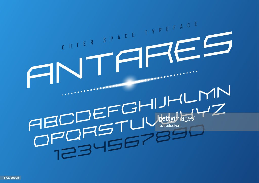 Antares futuristic vector decorative font design, alphabet, type