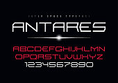 Antares futuristic vector decorative font design, alphabet, type