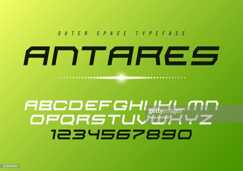Antares futuristic vector decorative italic font design, alphabe