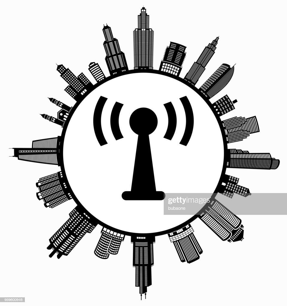 Antenna Connection  on Modern Cityscape Skyline Background : Stock Illustration