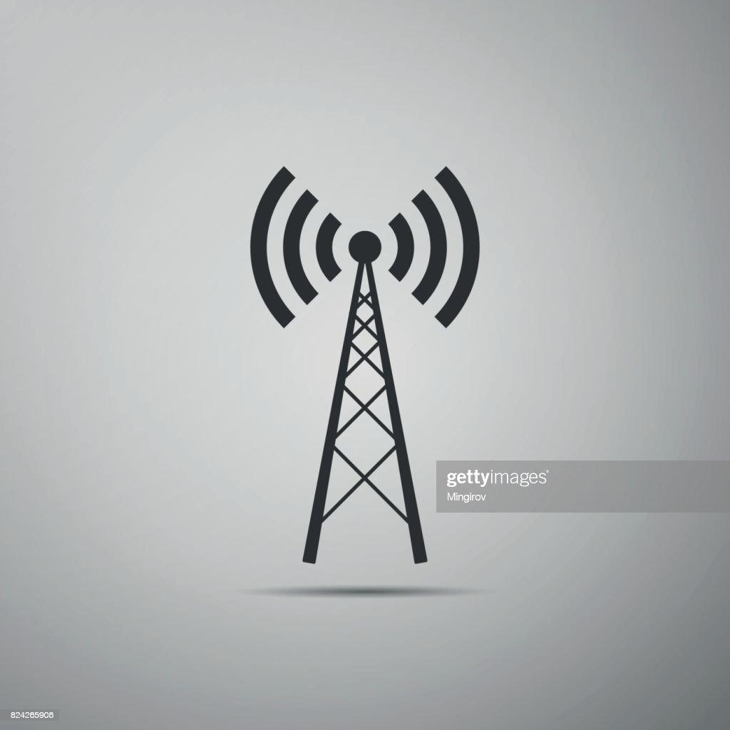 Antenna flat icon on grey background. Vector Illustration