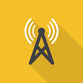 Antenna icon with long shadow on yellow background, flat design style