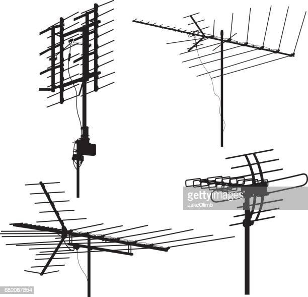 ilustraciones, imágenes clip art, dibujos animados e iconos de stock de siluetas de antena - torres de telecomunicaciones