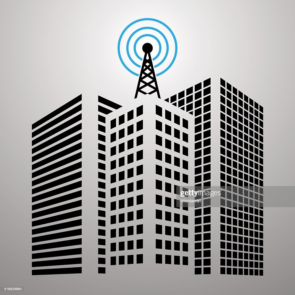 Antennas on buildings in the city icon set