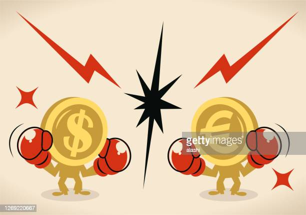 anthropomorphic dollar and euro sign coin (us  currency vs european union currency) are fighting against each other by boxing - combat sport stock illustrations