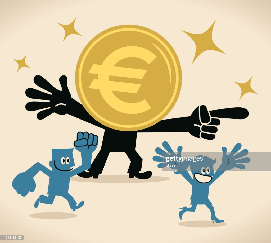 Anthropomorphic Euro Sign Currency Money Pointing At A Direction And