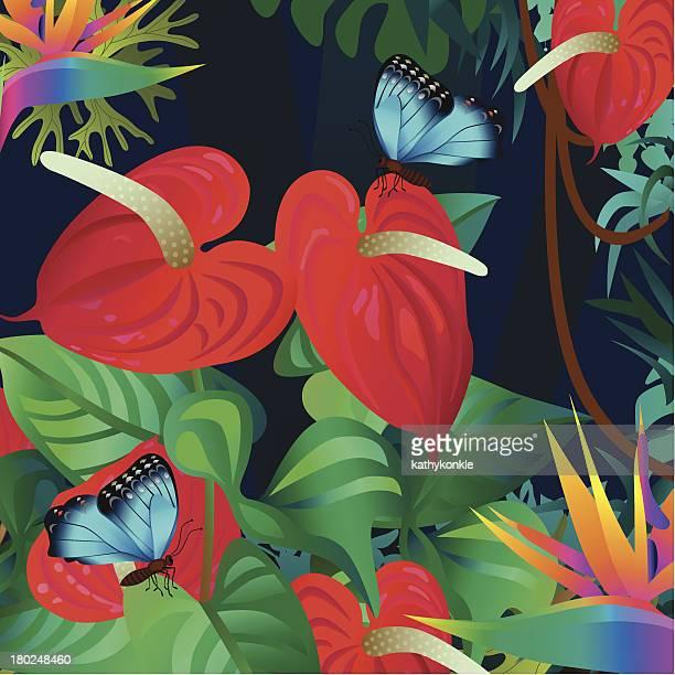 Anturio y mariposas morpho