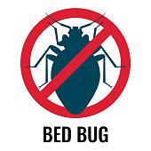 Anti bed bug emblem white on vector illustration