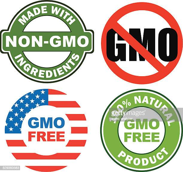 anti gmo stickers - crossed out stock illustrations